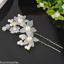 FP 1 Pince à Cheveux Épingle Clips Bijoux Perles Fleur Soirée Mariage Coiffure