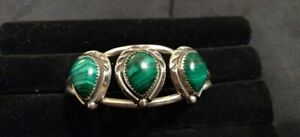 Sterling Silver Pear Shaped Malachite Cuff Bangle Bracelet Signed