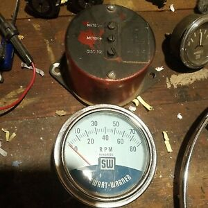 Vintage Stewart Warner Twin Blue  RPM Tachometer 8K Tach and sender.
