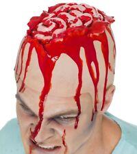 Halloween Fancy Dress Mens Kids Latex Open Brain Bald Head Cap by Smiffys New
