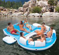 Inflatable Floating Island Giant Lake Floats Adults Party Island Lounge Cooler