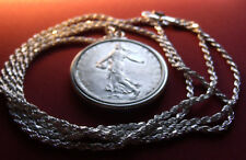 """1963 France 5 Franc Silver Coin Pendant on a 30"""" .925 Sterling Silver Rope Chain"""