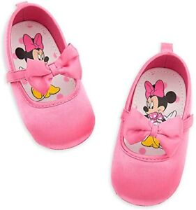 Disney Store Minnie Mouse Pink Baby Costume Shoes w/ Bow 0 6 Months