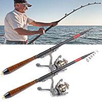 US Professional Carbon Fiber Telescopic Fishing Rod Travel Spinning Rod Pole 82'