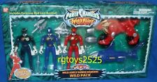 "Power Ranger Wild Force 5 "" Black Blue Red rangers w Lion & Shark Zords New 2002"