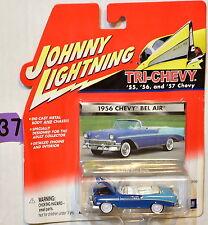 JOHNNY LIGHTNING TRI-CHEVY WHITE LIGHTNING 1956 CHEVY BEL AIR BAD CARD