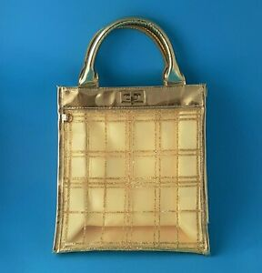 GOLD METALIC PATENT LEATHER SEE THROUGH CARRY ALL TOTE BAG TURN LOCK CLOSURE