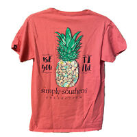 Simply Southern shirt Womens sz small Pink short sleeve t-shirt Pineapple cotton