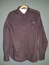 Pre-owned Volcom Men's Work Wear Long Sleeve Black Striped Shirt Logo Size L/G