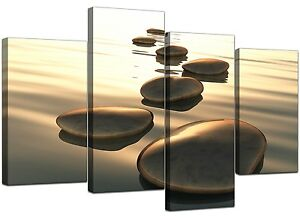 Extra Large Sepia Brown Canvas Wall Art Pictures 130cm XL Zen Spa 4046