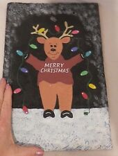 "Christmas Plaque Faux Slate Reindeer Lights Merry Christmas Resin 13.75"" by 9"""
