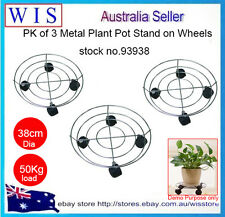 PK of 3 Plant Pot Trolley Plant Pot Holder on 4xWheels Plant Container Trolley