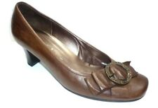 "GABOR  brown leather mid 2"" heel business court shoes UK 4.5"