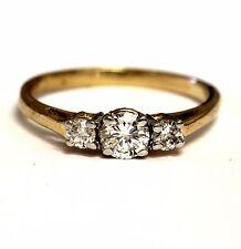 14k yellow gold .52ct SI1-2 H 3 stone round diamond ring 2.0g estate vintage