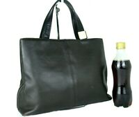 Authentic BURBERRY Chocolate Leather Tote Hand Bag Purse Handbag Used Vintage