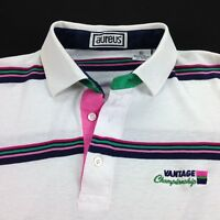 vtg 80s Polo Shirt mens XL Paper Thin Distressed Grunge Surf Skate Stripe Tennis