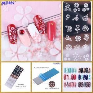 Metal Nail Stamping Plate Rose Daisy Flowers Clover Maple Dandelion Butterfly