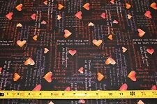 """Fabric """"Heartfelt"""" hearts by Clothworks cotton fabric sewing / quilting by yard"""
