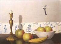 Original Signed Dutch Oil-on-Canvas, Still-Life Bowl w/Apples, Candle, & Key