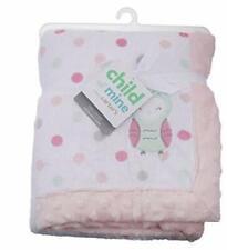 New NWT Carter Child of Mine Girl Polka Dot Owl Minky Fleece Blanket  30 X 40