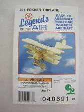 New! Vintage 401 Fokker Triplane Legends of the Air Miniature Wooden Aircraft