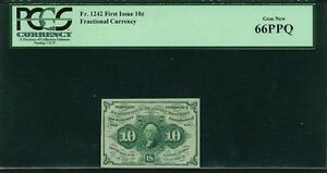 """1862-63  10 CENT FRACTIONAL CURRENCY FR-1242 CERTIFIED BY PCGS """"GEM NEW"""" 66-PPQ!"""