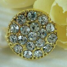 """6 Sparkling Clear Crystal/Rhinestone Gold Metal 5/8"""" Buttons K020"""