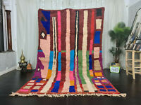 """Boujad Handmade Moroccan Vintage Rug 6'2""""x9'6"""" Berber Striped Colorful Wool Rug"""
