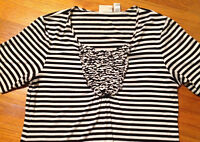 Chicos Rayon Blend Blouse top Sz 0 Womens S Small Med Black White Stipe Shirt