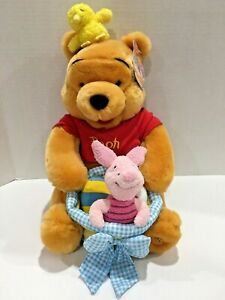 NEW Disney Store Winnie The Pooh Plush Stuffed Animal Easter Basket Piglet Chick