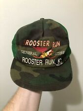 Vintage 70s 80s K Products K Brand Rooster Run Camo Snapback Trucker Hat Cap USA