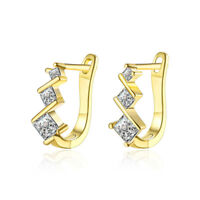 14K Yellow Gold Filled 2.00 CT Square Crystal Accent Leverback Earring 15mm
