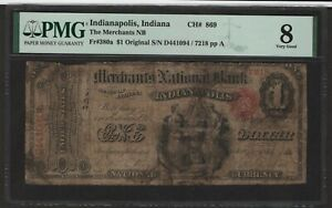 National Bank Note CH#869 PMG 8 VG $1.00 Indianapolis Indiana 4 known