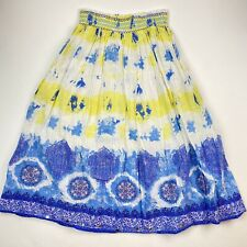 """Justice Girls Size 14 Long Skirt Blue Yellow White Modest 29"""" Length"""