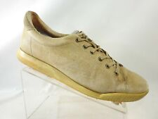 Ecco Size 11 M Khaki Suede Leather Lace Up Comfort Casual Sneakers Mens Shoes