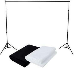 Fodoto 6ft (H) x 10ft (W) Backdrop Stand w/ 2PC 6'x9' White and Black Backdrop