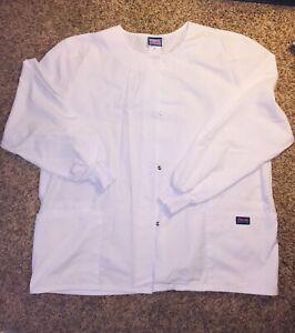 Cherokee Workwear Women Originals Snap Front Warm-Up White Jacket NWOT Sz XL