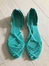 ZARA Strappy Turquoise BALLERINA Ballet FLAT SHOES 41 US 10 Sandals Slip on