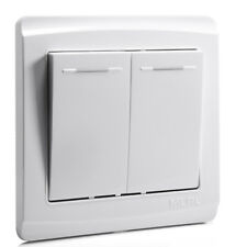 White 2 Gang Home Office Wall Panel Light Switch 86mm x 86mm AC110V-250V 10A