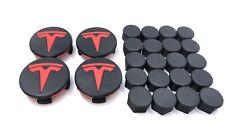 Tesla motor Model 3 Aero Wheel Center Cap Kit 3D Printed Recycled ABS RED