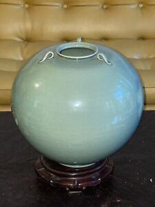 Fine Vintage Korean Celadon Pottery Jar Vase,  Artist Signed, Large