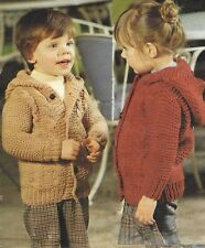 "Chunky Cabled Jacket with Hood Knitting Patern 20-26"" Baby Boys and Girls 566"