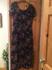 Monsoon Beautiful 12 purple pink green multi floral Dress, lined,button v back