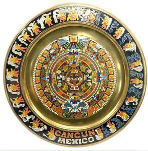 Plato de Latón Policromada - Mexico Cancún (1)