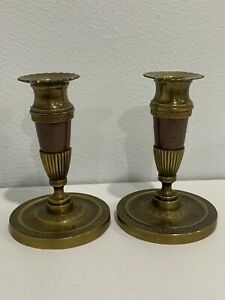 Antique 19th Century Empire Brass or Bronze & Wood Pair of Candle Holders 2 of 2