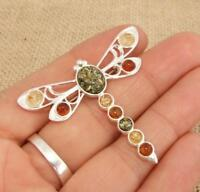 Multi Baltic Amber & 925 Silver Dragonfly Brooch Pin Jewellery