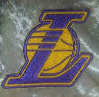 "LA Los Angeles Lakers ""L"" 3.5"" Iron On Embroidered Patch~USA~FREE Ship"