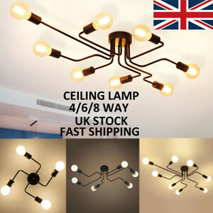 Ceiling Lights Fitting 4/6/8 Arms Semi Flush Chandlier E27 Screw Kitchen Bedroom