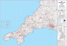 Postcode Sector Map 1 Cornwall and Scilly Isles - Laminated Wall Map