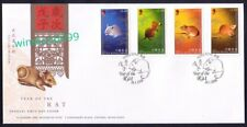 Hong Kong 2008 Zodiac Series Lunar New Year of the Rat, 4v Stamps on FDC